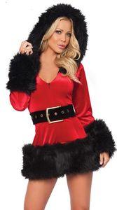 Seksi Yetişkin Santa Kostüm Yetişkin Mrs Claus Kıyafet Womens Noel Fantezi Elbise Cosplay HAT Parti Elbise ile