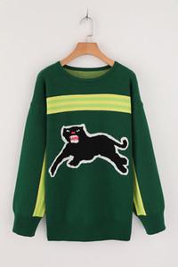 Envío gratis 2017 marca mismo estilo suéteres Celebrity estilo bordado jersey Reqular manga larga cuello redondo estampado de animales mujeres GGG