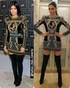 2018 manches longues col haut robe courte Kylie Jenner montre soutien robes de bal des Oscars robes de célébrités tapis rouge femmes robes de soirée