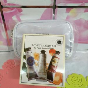 vente chaude en stock 1 box = 6pcs célèbre crème de beurre de karité + pivoine + crème de mains rose avec 6 pièces pack costume mini lotions pour les mains shopping libre