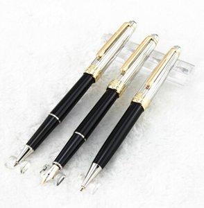 MB-La alta calidad 3pcs / set tapa de plata cepillado clásico negro hasta la pluma del rodillo del color + bolígrafo + pluma estilográfica