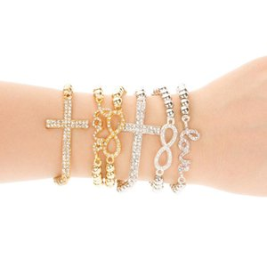Classic Love Cross Infinity Charm Pulseras Mujeres Joyería de Moda Oro Rhinestone Amor Crystal Beads Bangle Jewellry Elasticidad 6 estilos