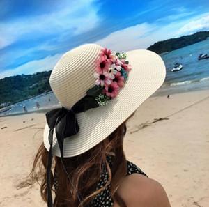 Verão Flores Frescas Arco Chapéu De Palha Chapéu Moda Feminina Praia Seção Maré Sol Dobrável Chapéu de Sol Wolesale Wide Brim Chapéus