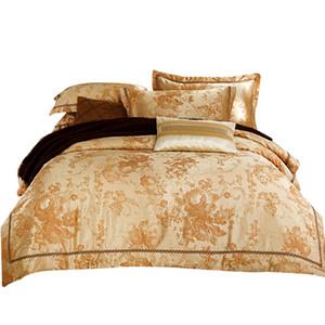 Al por mayor-Svetanya de seda de oro de algodón Bedlinen Queen King Size juegos de cama Jacquard funda nórdica + hoja plana + fundas de almohada 4 unids