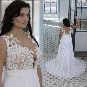 Eine Linie Sheer Bateau-Ausschnitt-Schatz-Spitze Top Brautkleider Weiß Nude preiswerte Qualitäts-Bräute Kleider Plus Size Brautkleider