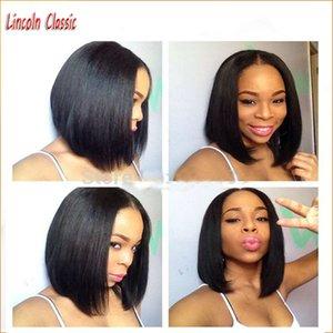 Запас 100% человеческих волос U часть Боб парики для чернокожих женщин 130% плотность естественный цвет перуанский девственные волосы Glueless Боб вырезать u часть человеческих париков