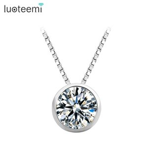 LUOTEEMI High Quality Single Clear Cubic Zirconia S925 Sterling Silver Jewelry Bridal Engagement Silver Pendant Necklace