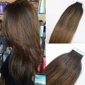 Balayage цвет #2#8 высокое качество горячий продавать бразильский Virgin Remy волосы прямые бесшовные человеческие волосы PU Лента в наращивание волос 100 г 40 шт.