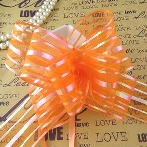 Alta calidad - 50pcs / lot 5cm de gran tamaño de color naranja organza Pull arcos para la decoración del coche de la boda de la boda organza tirón de cintas de flores envoltura de regalo