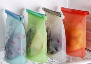 Riutilizzabile sottovuoto in silicone alimentare Sacchetti per sigillare gli involucri Frigo Contenitori per alimenti Contenitori Sacchetto frigorifero Borse da cucina a chiusura lampo
