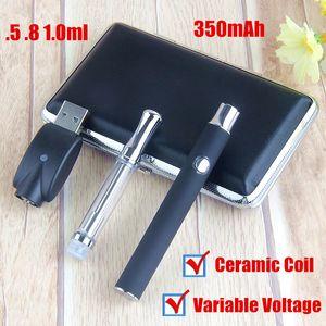 tensione variabile Preriscaldare Metal Case Starter Kit Pyrex Vetro Vape ceramica penna wickless 510 cartucce di sigarette elettroniche