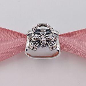 Autêntica 925 libras esterlinas grânulos de espumantes Bolsa Charme encantos único estilo europeu jóia de Pandora pulseiras Colar 791534CZ