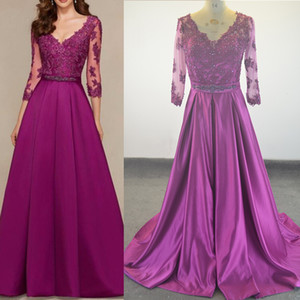 Lace Appliqued Purple Long Evening Dresses Long Sleeves Crystal Beaded Sweep Train Formal Evening Party Gowns