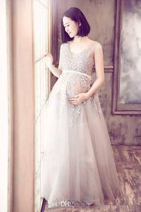 Romantic Pregnant Wedding Dresses 2019 New Sheer Long A-Line Applique Tulle Empire Maternity Bridal Gowns Vestido De Noiva Custom Made W1018