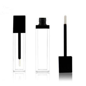 8 ml de forma cuadrada ACRÍLICO tubo de rímel transparente brillo de labios tubo con tapa negra tubo vacío envío rápido F2017578