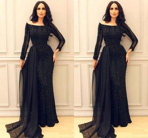 Sparkly Black manches longues Prom Pageant robes 2019 modeste Moyen-Orient arabe arabe sirène soirée sexy robes de soirée avec ruban