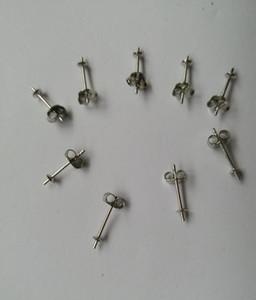 2 paires (4 pièces) / ensemble boucles d'oreilles en argent sterling de 3 mm | Boucle d'oreille sertie de goujons de perles Pearl W / Earnut Safety Back
