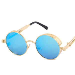 Haute Qualité UV400 Gothic Steampunk Hommes Sunglasses de lunettes de soleil en miroir de lunettes de soleil en miroir rond couleurs lunettes de soleil rétro Vintage Gafas Masculino Sol