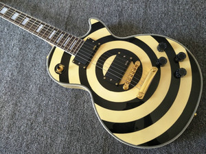 Tek Parça Boyun Zakk Wylde Krem Siyah Elektro Gitar EMG 81/85 Pikaplar Altın Makas Çubuk Kapak Beyaz MOP Blok Klavye Kakma Bullseye
