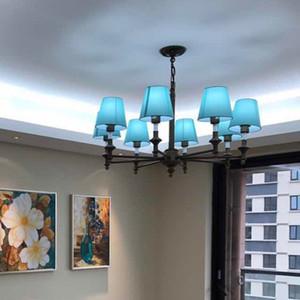 Moderne LED Lustre Lumières Lampe Nordic Salle À Manger Lampe Salle Des Enfants De La Fer Art Blue Style Lustres Méditerranéens E27 éclairage à la maison