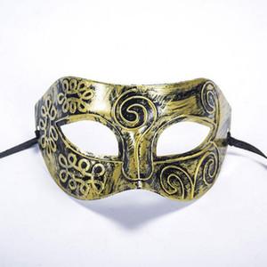 2017 nuovo Factory Outlet Halloween oro argento Bronzo Maschera uomini romani Mezza faccia piatto scolpito maschera veneziana