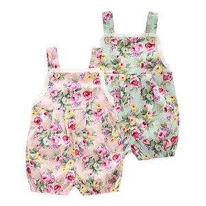 INS 3 estilos Novedades Venta caliente infantil niña Verano Estampado de flores Sling mameluco bebé Clombing ropa niña encaje mameluco 0-2T