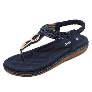 2017 sandalias femeninas Bohemian Diamond Carpeta con parte inferior plana Código del dedo del pie Zapatos de verano para mujer Más tamaño Sandales Femmes LX-033