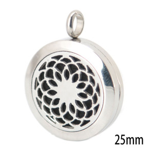 Lotus Flower 25mm Silver Jewelry Aromatherapy Essential Oil surgical Stainless Steel Perfume Diffuser Locket Necklace with chain and pads
