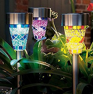 Новый Mosaic газон LED солнечная лампа заглушка Лампа из нержавеющей стали Водонепроницаемый уличный свет