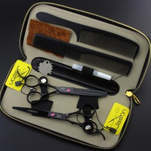 5.5 ciseaux de cheveux 6 pouces set HD-26 main gauche peinture noire ciseaux de coiffure dents de cisaillement plat ciseaux amincissement cisaillement coupe ciseaux ensemble