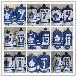 رخيصة تورونتو مابل ليفز الرجال 1 جوني باور 7 تيم هورتون 13 ماتس Sundin 1967 ريترو خمر هوكي الجليد الفانيلة الأزرق الأبيض
