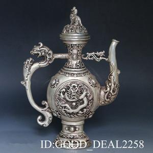 Collezione Folk Art Chinese Silver Copper Teiera di DragonCarved a mano con marchio KangXi