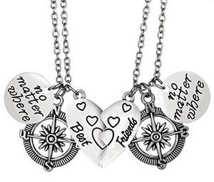 2017 new mother daughter best friends jewelry no matter where engraved heart Pendant necklaces compass Pendant