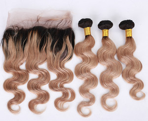 Honey Blonde Körper-Wellen-Haar-einschlag Mit 360 Lace Frontal # 1B 27 Pre Zupforchester 360 Lace Frontal Mit Virgin Haar Bundles