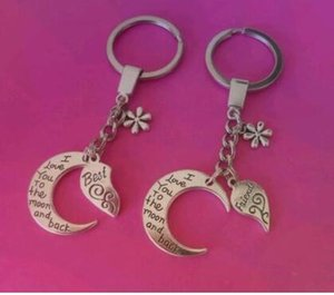 Vintage Silver Charms Flower Best friends I Love You to the Moon And back Keychain For Keys Car Bag Key Ring Handbag Gift Couple Key Chains