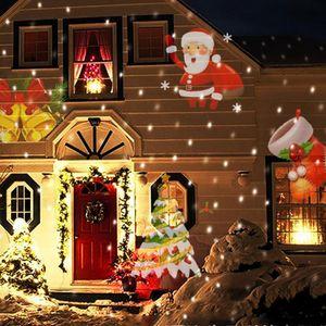 Venta al por mayor- EU Navidad Proyector LED Luces Decoración Movimiento Rotación Foco Paisajes al aire libre (12pcs lente de patrón conmutable)