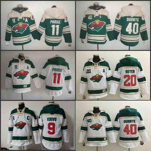 Men's Old Time Hockey 2016 Serie Stadium Minnesota Wild 40 Devan Dubnyk 11 Zach Parise 20 Ryan Suter 9 Felpe con cappuccio Mikko Koivu