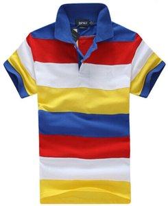 Мода мужская полосатый поло футболка американский дизайн хлопок с коротким рукавом Спорт Polos рубашка дешевые футболки красочные мальчиков досуг одежда