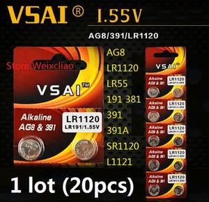 20 قطع 1 وحدة AG8 LR1120 LR55 191 381 391 391A SR1120 L1121 1.55 فولت البطارية القلوية زر خلية عملة بطاريات vsai مجانية