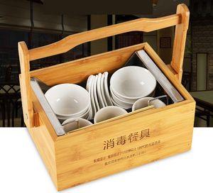 portable vaisselle bambou panier boîte de vaisselle de désinfection de l'acier inoxydable 037 de stockage neatening