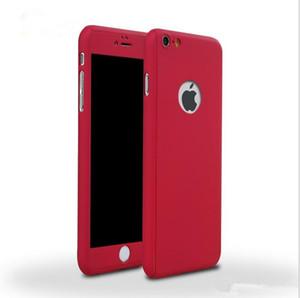 Cubierta protectora de cuerpo completo ultrafina híbrida de 360 grados con protector de pantalla de vidrio templado para Apple iPhone 6 6S 7 más caja del teléfono