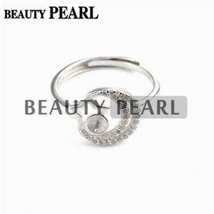 HOPEARL Joyas de circón Anillo de perlas con forma de estrella y luna 925 en plata de ley Semi Monte 3 piezas