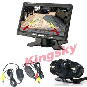 """لاسلكي 2 LED عكس وقوف السيارات الاحتياطية كاميرا 170 درجة + 7 """"LCD TFT مراقب سيارة الرؤية الخلفية كيت"""