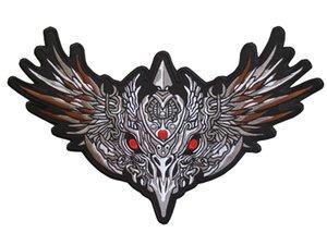 O Envio gratuito de Alta Qualidade Enorme Bordado Patches de Ferro Da Motocicleta Motociclista para Jacket Voltar Hells Evil Eagle