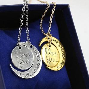 Venta al por mayor Europa y Estados Unidos nueva moda i love you moon couple love necklace s5442