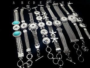 20 Pz Fashion Mixes Noosa pulsante bracciali braccialetti Argento Antico Inciso Fiori di Cristallo FAI DA TE zenzero scatta gioielli intercambiabili