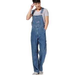 de Atacado-Men plus size macacão tamanho grande enormes calças denim jardineiras Moda bolso macacões transporte livre masculino