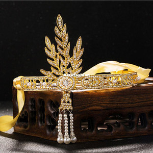 New Fashion Hairbands Wedding Hair Accessories Crystals Pearl Tassels Hair Hoop Headband Women Hair Jewelry Bridal Tiara Crown Headpieces