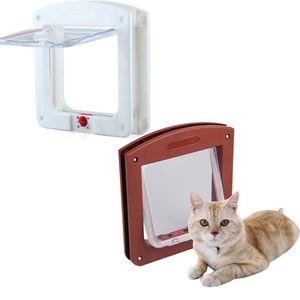 Yeni Dayanıklı Plastik 4 Yollu Kilitleme Manyetik Pet Kedi Kapı Küçük Köpek Yavru Su Geçirmez Flap Güvenli Kapısı Güvenlik Malzemeleri