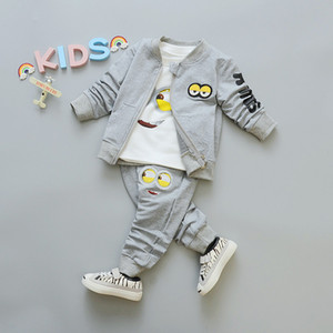 2018 Automne Bébés Garçons Garçons Minion Costumes Bébés / Nouveau-nés Vêtements Ensembles Enfants Manteau + T-shirt + Pantalon 3 Pcs Ensembles Enfants Costumes